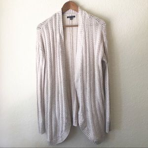 American Eagle Cardigan L Knit Open Off White Long